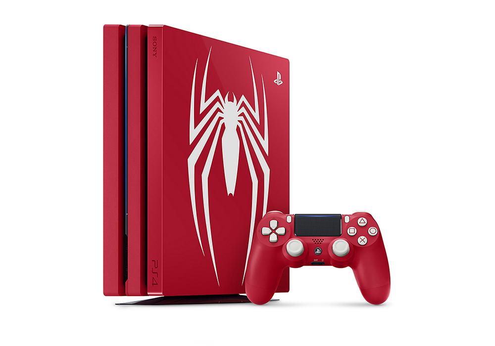 빨간색 슈퍼히어로의 수트를 입은 플레이스테이션과 엑스박스
